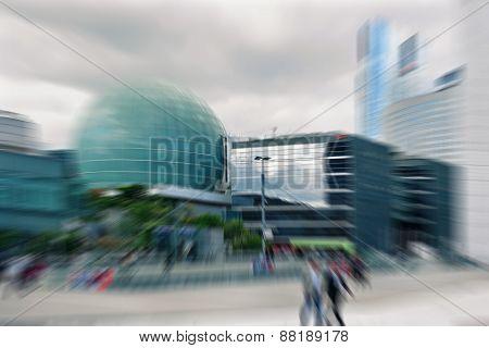 Abstrakt Background. Business People In The Street In Paris.  Radial Zoom Blur Effect Defocusing Fil