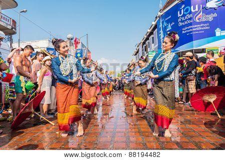 CHIANG MAI THAILAND-APRIL 13:Chiangmai Songkran festival. Unidentified Thai woman dancer in parade annual Chiang Mai Songkran festival at Tha Pae road on April 13 2015 in Chiang mai Thailand.