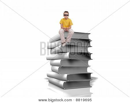 Pile Of White Books Over White Background