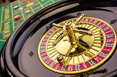 the cylinder of a roulette gambling in a casino. winning or losing is decided by chance. poster