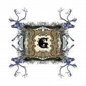 The Victorian capital letter G with four owls and four deer. poster