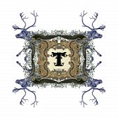 The Victorian capital letter T with four owls and four deer. poster