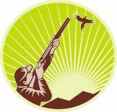 illustration of a Hunter with shotgun rifle aiming at pheasant poster