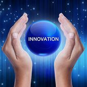 Hand showing blue crystal ball with innovation word. business concept poster