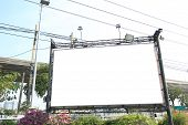 blank billboard in against sky city bangkok thailand poster