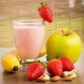 Strawberry smoothie refreshing fruit meal - healthy vegetarian food poster