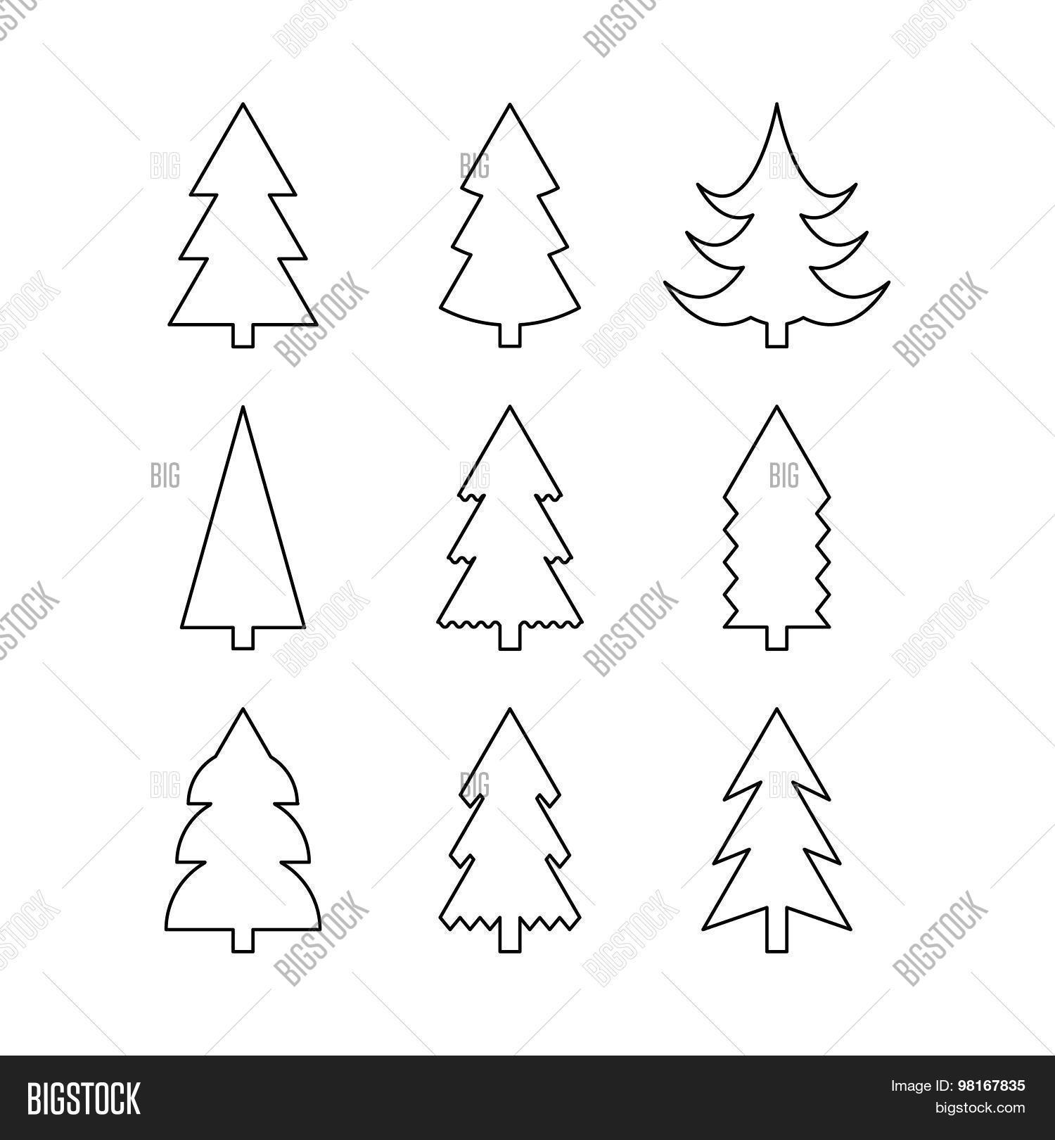 Tall Skinny Christmas Tree Silhouette.Thin Line Icon Set Vector Photo Free Trial Bigstock