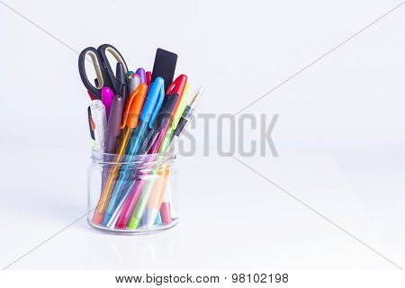 Colorful Pens In Glass Jar