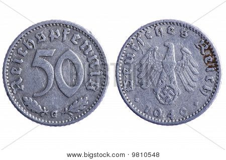object on white - Deutches reich coins macro poster