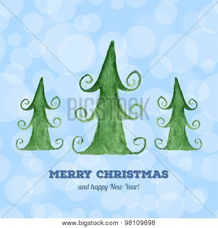 Christmas Card With Watercolor Christmas Trees