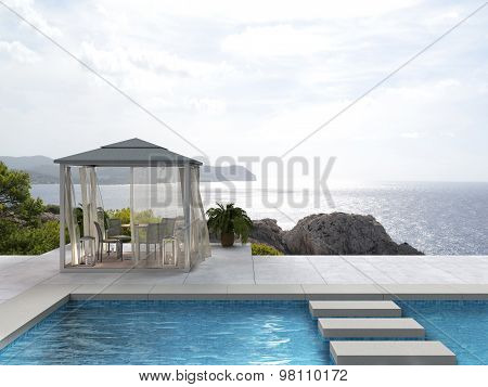 seaside pavilion by the pool