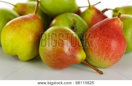 Heap of ripe tasty pears close up poster