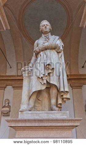Statue Of Writer Petro Verri In Milan, Italy
