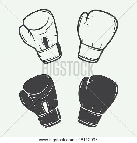 Boxing Gloves In Vintage Style.
