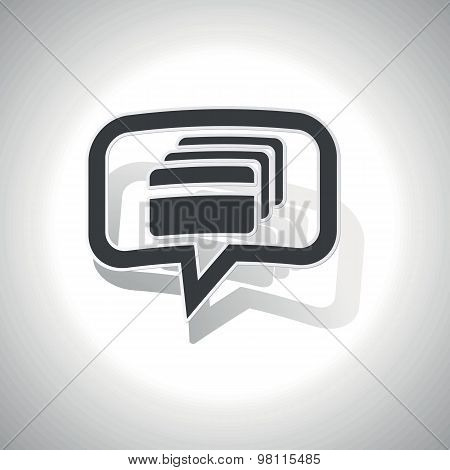 Curved credit card message icon