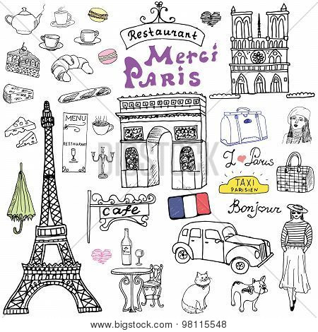 Paris doodles elements. Hand drawn set with eiffel tower bred cafe taxi triumf arch Notre Dame cathedral facion elements cat and french bulldog. Drawing doodle collection isolated on white. poster