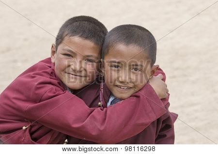 Portrait Of Tibetan Happy Boys In Druk White Lotus School. Ladakh, India