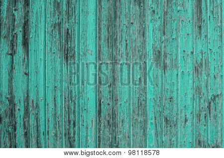 Wooden Turquoise Colored Background. Abstract Surface Texture