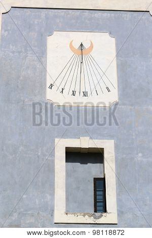 Sundial on the wall of the old castles in Europe poster