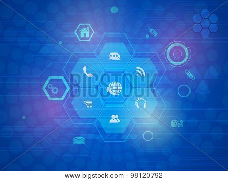 Technology concept with various web icons on shiny blue hi-tech background.