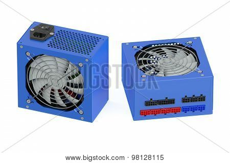 Two Blue Computer Power Supply Units
