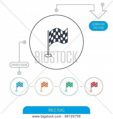 Racing flag icon. Finishing symbol.