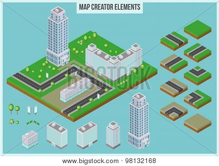 Isometric map creator elements for city building. 3d skyscrapers, buildings, trees and road elements