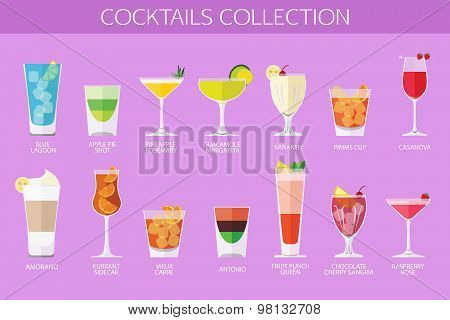 Set of alcohol cocktails icons. Flat style design.
