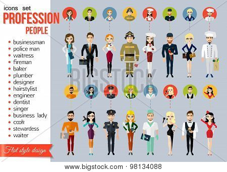 Profession people and avatars collection. Cartoon different characters and different clothes. Doctor, businessman, police man, waitress, fireman, baker, plumber, designer, hairstylist, engineer, dentist, singer, business lady, cook, stewardess, waiter. Fl poster