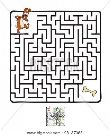 Vector Maze, Labyrinth education Game for Children with Dog and Bone.