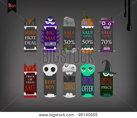 Sale, discount or offer tags, sticker or labels for Happy Halloween.