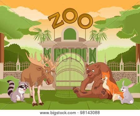 Zoo gate with forest animals 2