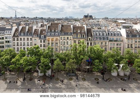 Aerial View Paris From Roof Terrace Of Centre Pompidou, Paris