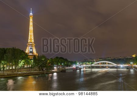 Skyline From Paris With Eiffel Tower At Night