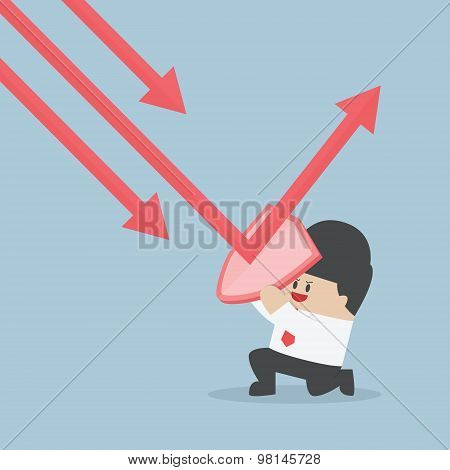 Businessman Holding Shield Prevent From Down Trend Graph To Protect His Profit