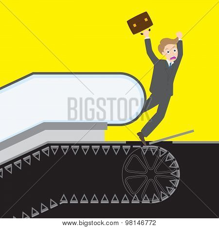 Businessman caught his leg into the working escalator stairway accident danger get injury and dead poster