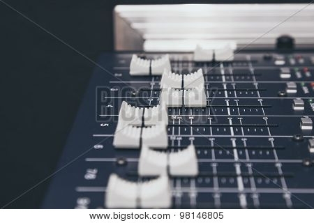 Sound Music Mixer Control Buttons Equipment Close Up