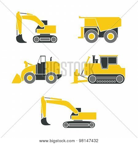 Tractor, Excavator, Bulldozer, Crawler Set , Wheeled And Continuous Track With Blade And Backhoe.