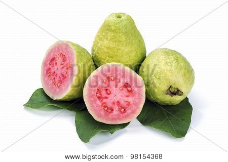 Ripe Guava With Leaves On White Background