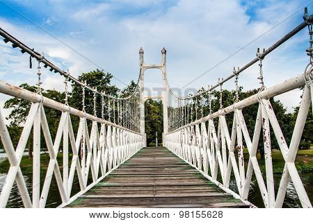 Old White Iron And Wood Hanging Bridge