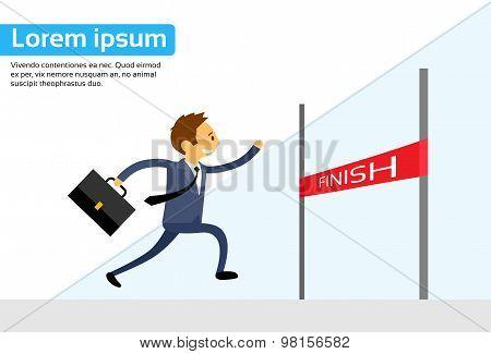 Businessman Run Cross Finish Line Flat Vector
