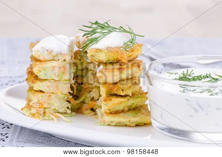 Sliced Stack Vegetable Fritters Of Zucchini