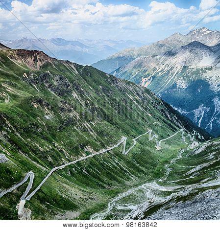 Alpine Road With Hairpins - Stelvio Pass