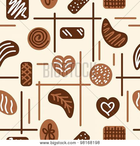 Chocolate Candies. Vector Seamless Pattern