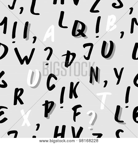Vector Seamless Abstract  Alphabet Pattern