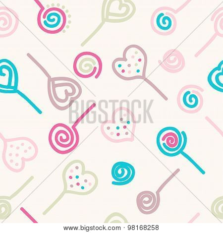 Colorful Lollipops And Candies. Vector Seamless Pattern