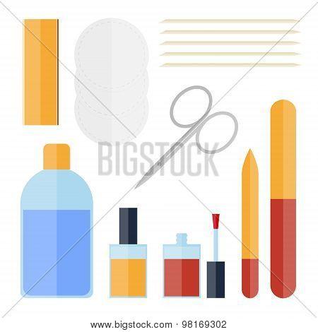 Flat Set Of Manicure Equipment