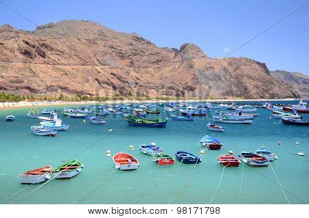 Colorful fishing boats on Teresitas beach on Tenerife