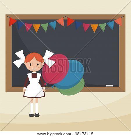 Schoolgirl with balloons near the school board. Soviet schoolgirl in school uniform. Simple flat vector. poster