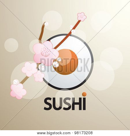 Sushi Set on beige background in futuristic style